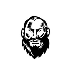 Male big beard woodcut vector