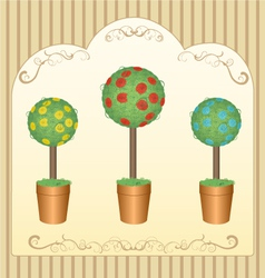 Three round floral tree vector