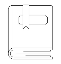 Thick book with bookmark icon outline style vector
