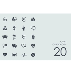 Set of cardiology icons vector