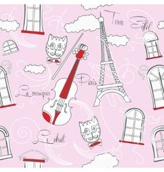 Pink Seamless pattern with music and city vector image