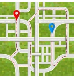 Road junctions with complicated path between GPS vector image