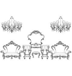 Exquisite fabulous imperial baroque furniture and vector