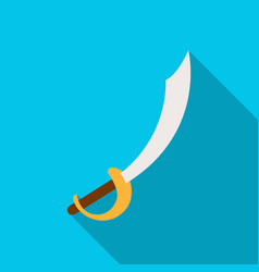 Pirate sabre icon in flat style isolated on white vector