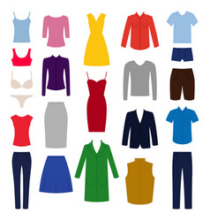 Set of woman and man clothes icons vector