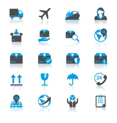 Logistics and shipping flat with reflection icons vector