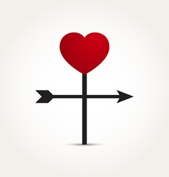 Love heart direction arrow vector