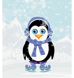 Cute penguin ice skates vector