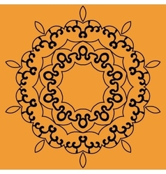 Outlined mandala print on orange background vector