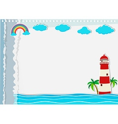 Paper design with lighthouse and ocean vector