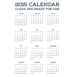 2015 clean calendar template mockup brochure vector