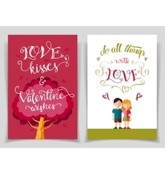 Valentines day greeting cards set with calligraphy vector
