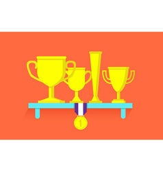Trophies and awards on shelf vector