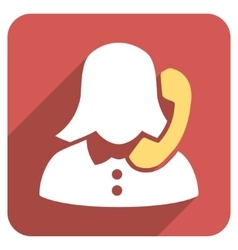 Phone operator flat rounded square icon with long vector