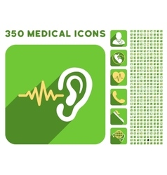Listen icon and medical longshadow icon set vector