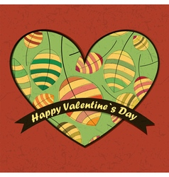 Valentine day card with leaves and heart vector
