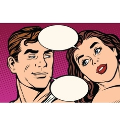 Man and woman close-up face communication vector