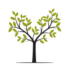 Black tree with green leafs vector