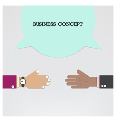 Businessman hands with speech bubble vector