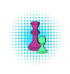 Chess king and chess pawn icon comics style vector image