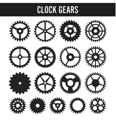 Clock gears black icons isolated on white vector
