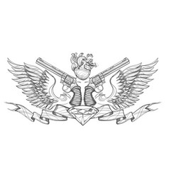 Contour image of two revolvers ribbon wings vector