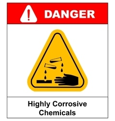 Corrosive sign warning sign danger sign vector