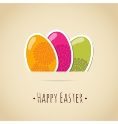 Cute easter card with painted eggs floral design vector