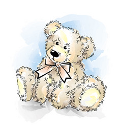drawing teddy bear with bow color vector image