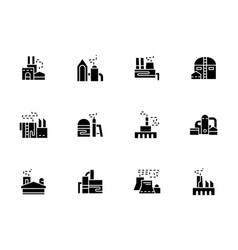 Factories and plants black glyph icons vector