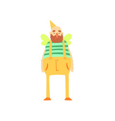 Freak fat bearded man character in funny bee vector