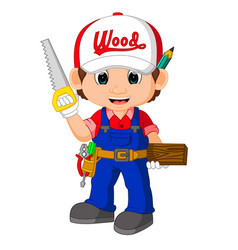 Funny carpenter cartoon vector