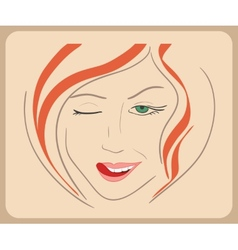 Handdrawn woman face winks with red hair and green vector