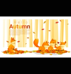 Hello autumn background with foxes vector