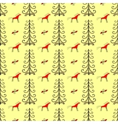 Horses in the forest amongst fir trees seamless vector
