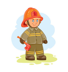 icon of small child firefighter and his vector image vector image