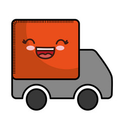 Kawaii cargo truck icon vector
