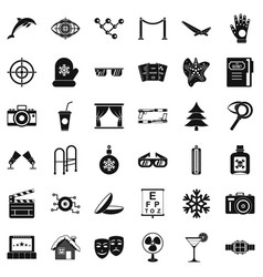 Mitten icons set simple style vector