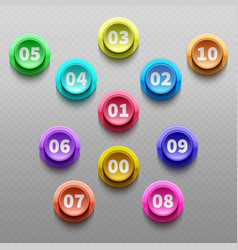 Number buttons 3d pointing bullets isolated vector