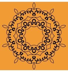Outlined mandala print on orange background vector