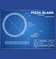 perfect pizza blank blueprint scheme vector image vector image