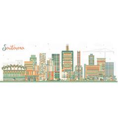 Saitama japan city skyline with color buildings vector