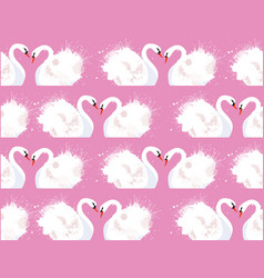 seamless pattern with a pair of lovers swans and vector image vector image