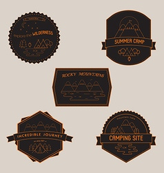 Set of Camping Badges and Emblems with Mountain vector image vector image