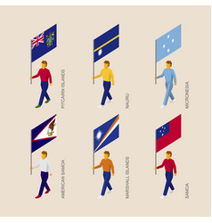 Set of isometric 3d people with flags of oceania vector