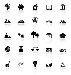 Sufficient economy icons with reflect on white vector image vector image
