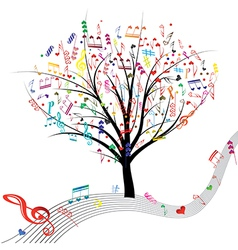 tree music color vector image vector image