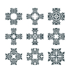 tribal cross set vector image vector image