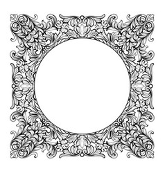 vintage imperial baroque mirror round frame vector image