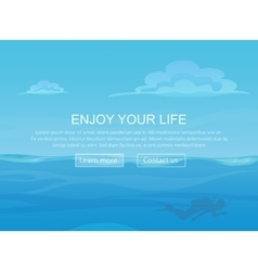 Water ocean sea landscape with sky and clouds and vector image vector image